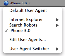 User Agent Switcher toolbar