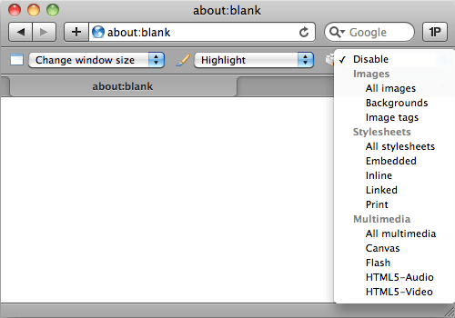 Safari Developer toolbar