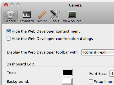 Web Developer options dialog
